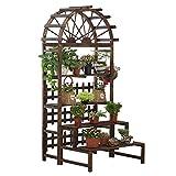 Xin® Blumenstand Anti Korrosion karbonisiertes Holz Bogenform Balkon Gartenterrasse Mehrschichtig Schritt Blumenständer Kletterpflanze Stehen