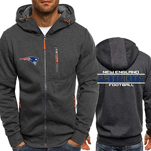 WZ NFL Football Kleidung - New England Patriots Micro Velvet Warm Langarm-Zipper-Shirt, Hoodie Für Männer Und Frauen Herbst Und Winter,XL -