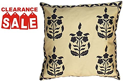 SouvNear Decor Cushion Cover 18 x 18 in Gold Black Colour with Zipper – Decorative Tribal Art Square Throw Pillows Case Cover for Sofa Bed Couch Ottoman – Home Decoration Accessories Holiday Gifts