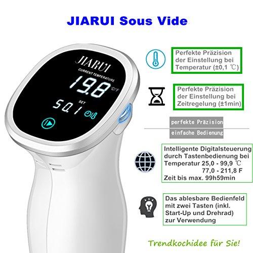 Last-Minute-Angebot_JIARUI Sous Vide, Präzisionskocher/Immersion Zirkulator mit Digitaltimer und exakter Temperaturreglung, Ultra Leise, 850W, Weiß, Geschenkidee - 4