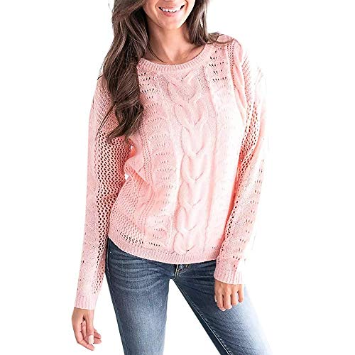 (Qiusa Womens Plus Size Long Sleeve beiläufige O Ansatz-lose passende Knit Sweater Pullover Tops (Farbe : Rosa, Größe : M))