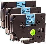 3 Schriftbandkassetten kompatibel zu Brother Tze-531 schwarz auf blau 12mm breit x 8m lang laminiert