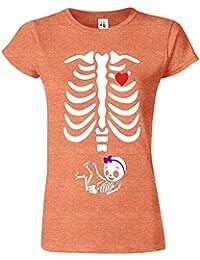 """SNS Online Bruyère d' Orange - XL - Ajuster: EU 44"""" - Adorable Skeleton Heart Dames T Top T-Shirt"""