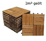 SAM Terrassenfliese 02 Akazienholz, FSC100%, 22er Spar-Set für 2m², 30x30cm, Bodenbelag mit Drainage, Balkon Klick-Fliesen