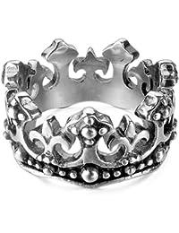 MunkiMix Acero Inoxidable Anillo Ring Banda Venda El Tono De Plata Negro Real Rey Corona La Flor De Lis Cruzar Cruz Hombre