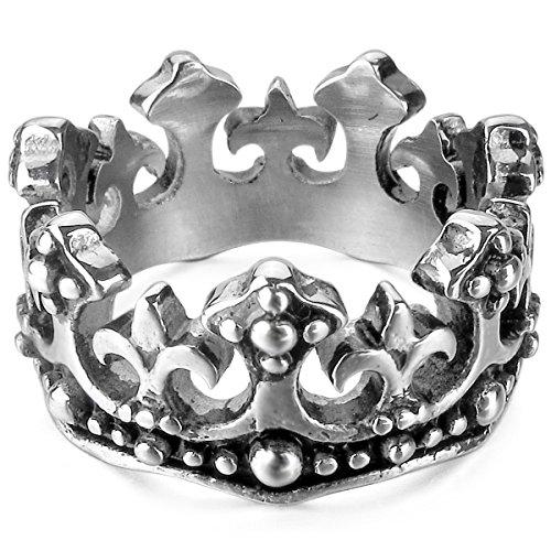 MunkiMix Edelstahl Ring Band Silber Ton Schwarz Königliche König Krone Ritter Fleur De Lis Kruzifix Kreuz Größe 54 (17.2) (Herren König Krone)