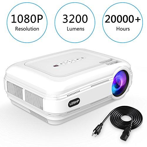 Beamer, leshp HD 1080P HD 3200Lumens LED Mini LCD-Projektor Cinema Theater familiären Private,-Projektor (tragbar 1080P/USB/VGA/SD/HDMI für Xbox/iPhone/Smartphone/PC weiß weiß