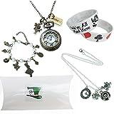 Alice im Wunderland Geschenk-Satz. Uhr, Halskette und Armbänder in Geschenkbox