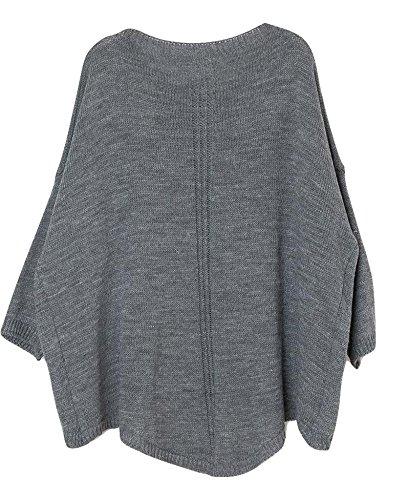 Accessorize-me - Top à manches longues - Femme Taille Unique Gris