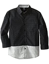 American Hawk Big Boys' Color Block Patterned Sport Shirt