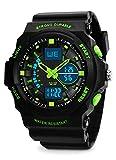 Jungen Sport Digital Uhren - Kinder Outdoor 5 Bars Wasserdicht Uhren mit 12/24 Stunden Format/Alarm, Electronic Sport Analog Armbanduhr, Kinderuhren für Jugendliche Jungen - Grün von BHGWR