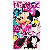 alles-meine.de GmbH Badetuch / Strandtuch -  Disney - Minnie Mouse  - inkl. Name - Baumwolle 100 % - 70 cm * 140 cm - Frottee / Velours - Handtuch - Mädchen - 70x140 für Kinder..