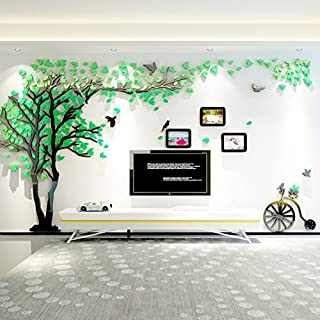 Topmail Nursery Family Green Tree Wall Stickers 3D Extra Large DIY Family Tree Wall Decals for Living Dining Room Removable Vinyl Tree Wall Art 210×400 cm/82.7×157.5 inch(XL,Green Leaves, Left)