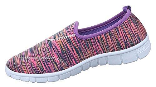Damen Halbschuhe Schuhe Slipper Sneakers Freizeitschuhe schwarz blau pink lila 36 37 38 39 40 41 Lila