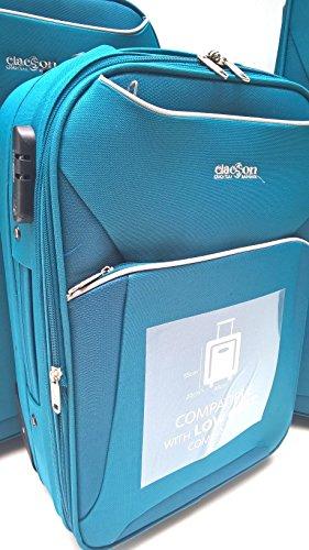 13198222d Set 3 Trolley Clacson Semirigidi 2 ruote Resistente Economico Espandibile con  Trolley Bagaglio a Mano idoneo Ryanair cm.55x40x20 Set valige bagaglio  cabina ...