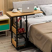 Overbed Table Laptop Table Bed Computer Tilt Bedside Table Notebook Stand Tiltable Tabletop Sofa Couch Bed Side Table Reading Table Stand Tray Angle Height with Wheels (Yellow)