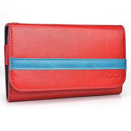 Kroo Lien série universel femmes portefeuille Wristlet sac à bandoulière Compatible avec de nombreux 4à 12,7cm Étui pour Huawei/Lenovo/LG/Motorola/Microsoft Téléphone portable Multicolore - Grey and Multicolore - Ruby Red and Electric Blue
