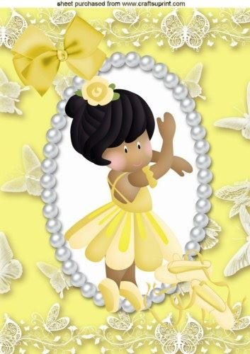 Little Dancing asiatico ballerina in Lemon, A4 topper by Nick Bowley
