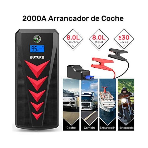 BuTure Arrancador de Coches 2000A/22000mAh,12V Arrancador de Baterias de Coche para Gas de 8L y Diesel de 8L, Arrancador Batería Coche con Dos Salidas USB, Salida de DC & 4 Modos Linterna LED