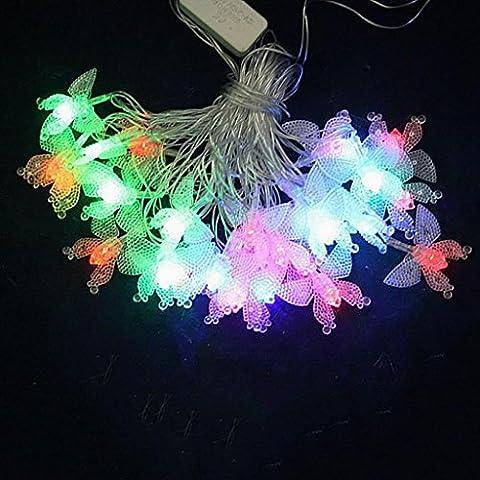 QINQIN Plastica di Natale decorazione farfalla LED String lights Lantern Festival (5 (Farfalla Strings)
