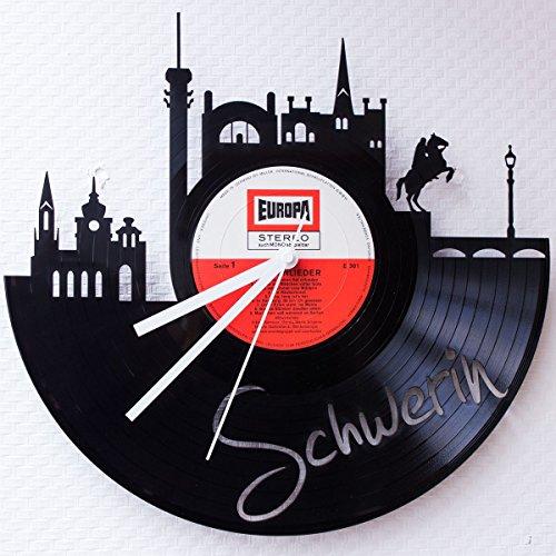 GRAVURZEILE Wanduhr aus Vinyl Schallplattenuhr Skyline Schwerin Upcycling Design Uhr Wand-Deko Vintage-Uhr Wand-Dekoration Retro-Uhr Made in Germany