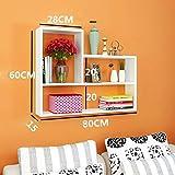 AJOG- Hängende Wand Kreativer Schrank Hängende Bücherregal Regal Studie Schlafzimmer Lagerung Wohnzimmer Einfach (80X15x60cm),White
