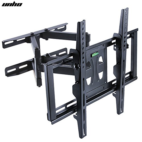 "UNHO® Soporte de Pared para TV de 26 ""- 70"", Extensible, Inclinable de 15°y Giratorio de 90°, Brazo Doble, Carga Máx.45 kg, VESA 400x600, Negro"
