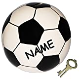 XL Spardose ' Fußball / Ball ' incl. Namen - stabile Sparbüchse mit Schlüssel - aus Porzellan / Keramik - Sparschwein lustig witzig - Bälle - Sport / Verein - Fussballer - für Erwachsene / Kinder Mädchen Jungen - Schwein