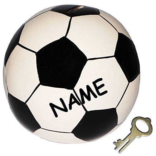 Unbekannt XL Spardose  Fußball / Ball  incl. Namen - stabile Sparbüchse mit Schlüssel - aus Porzellan / Keramik - Sparschwein lustig witzig - Bälle - Sport / Verein -..