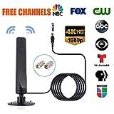 leegoal Antenne TV Intérieur, 50 Mile 12dBi à Gain élevé Freeview intérieur& Outdoor TV Aerial avec Base magnétique pour Tuner TV USB/DVB-T DVB-T2 H.264 H.265 TV/Dab Radio/SD/4K-VHF/UHF