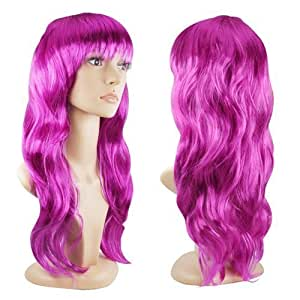 Accessotech Women's Sexy Long Curly Fancy Dress Wigs Cosplay Costume Ladies Full Wig Party Purple