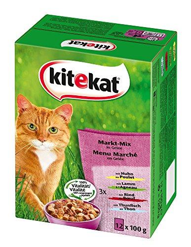 Kitekat Katzenfutter Markt-Mix in Gelee, 12 Stück (12 x 100g)