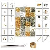 ZoomSky Kit Fabrication de Bijoux, 2416 Pcs Kit Bijoux Création Argent Or Fermoir Bracelet Accessoire de Réparation de Bijoux pour DIY Boucles d'oreilles Colliers Bracelets