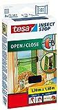 tesa Insect Stop Fliegengitter für Fenster zum Öffnen und Schließen, durchsichtig, 1,3m x 1,5m (4er Pack)