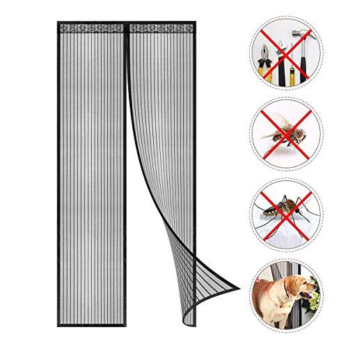 100 * 220 CM Magnet Fliegengitter Tür Fliegevorhang Magnetvorhang Insektenschutz ohne bohren für Balkontür Wohnzimmer Schiebetür Terrassentür