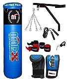 Madx - Set per la boxe da 13 pezzi con sacco da boxe pieno, guanti, catena, staffa di montaggio, lunghezza: 152 cm