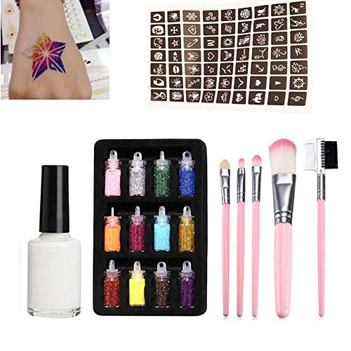 Ruier-hui New Flash Temporary Tattoo Set mit 12 Glitter Powder Hollow 1 Tattoo Vorlage 1 Kleber 5 Pinsel Jugendliche Erwachsene Kinder ideal -