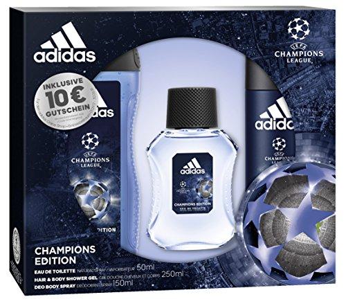 adidas UEFA CL Champions Edition Eau de Toilette + Deodorant Body Spray + Shower Gel + Online Shop Gutschein, 300 ml