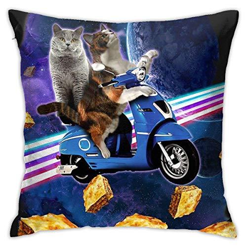 lanjiangbaih Katzen Reisen mit Lasagne Auf Roller Raum Dekokissen Abdeckung Weichen Kissenbezug Platz Kissenbezug für Schlafsofa Schlafzimmer Auto 18x18 Zoll