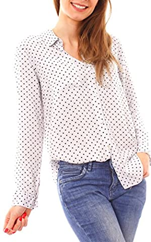 Damen Bluse Langarm Punktebluse Punkte Pünktchen Muster gemustert gepunktet One Size hellgrau