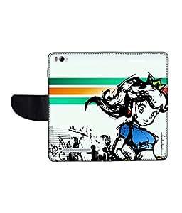KolorEdge Printed Flip Cover For Xiaomi Mi 4I Multicolor - (1478-50KeMLogo11557XiaomiMI4I)