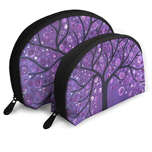 Portable Shell Makeup Storage Bags Purple Tree Love Art Travel Waterproof Toiletry Organizer Clutch Pouch for Women -