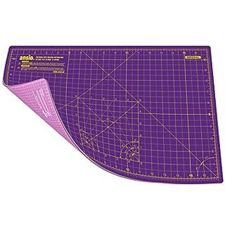 ANSIO A3 Doppelseitige selbstheilende Schneidematte - 5 Schichten/Imperial und Metrisch - 44 cm x 29 cm / 17 Zoll x 11 Zoll - Geeignet für Kunsthandwerk, Nähen. - Königliches Purpur / Gartennelke Pink