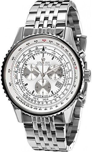 Louis XVI Herren-Armbanduhr Artagnan Stahlband Silber Weiss Swiss Made Chronograph Analog Quarz Edelstahl 582