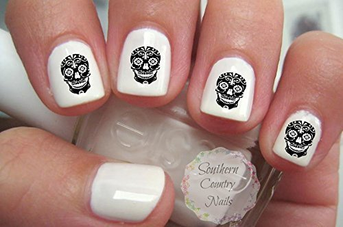 Black Sugar Skull Nail Art Decals by Southern Country ()