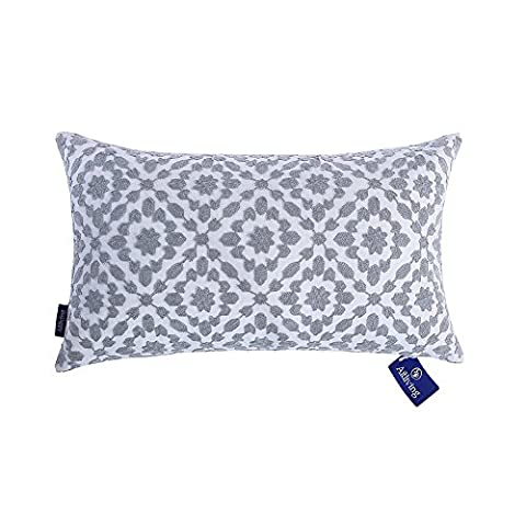 Aitliving Cushion Covers 12 x 20 inch Trellis Patterned Cushion Cover for Sofa 1 pc 30 x 50 cm Mina Embroidered Silver Grey Bolster Pillow Cushions