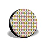 YuYfashions Cubierta del neumático Tire Cover Wheel Covers Cute Tulips Pattern Inside Geometric Rhombus Diamonds and Hearts Artsy Print for SUV Truck Camper Travel Trailer Accessories(14 15 16 17 In