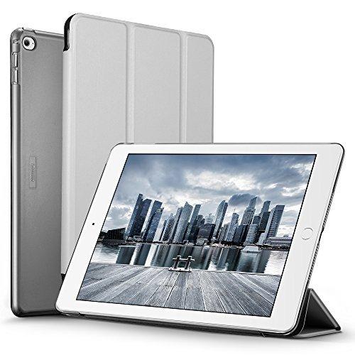 ESR iPad Air 2 Hülle, Auto aufwachen/Schlaf Funktion Wickelfalz Ledertasche mit Lichtdurchlässig Rückseite Abdeckung Schutzhülle(Raum Grau)
