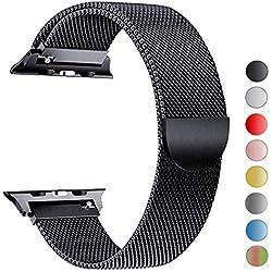 VIKATech Bracelet de Remplacement Compatible avec Apple Watch Bracelet 40 mm 38 mm Boucle en Acier Inoxydable Bracelet de Remplacement pour iWatch Série 4/3/2/1 Noir