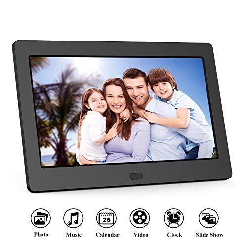 Digitaler Bilderrahmen 7 Zoll 1280x800 Full-IPS-Display Video/Foto/Musik-Player, Diashow, Digitaluhr, Kalender, Wecker, Elektronischer Fotorahmen mit Fernbedienung, Schwarz